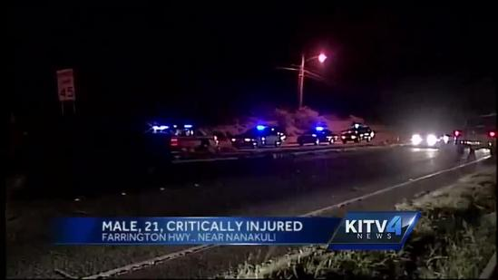 Man, 21, critically injured in crash near Kahe Power Plant