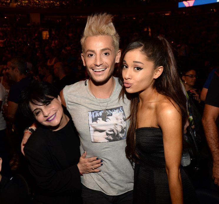 Joan and Ariana Grande with Frankie, Ariana's half-brother