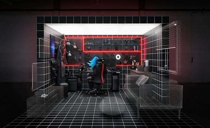 The IKEA ASUS ROG gaming collection presented with this wireframe rendering of a high-tech gaming area in someone's home.