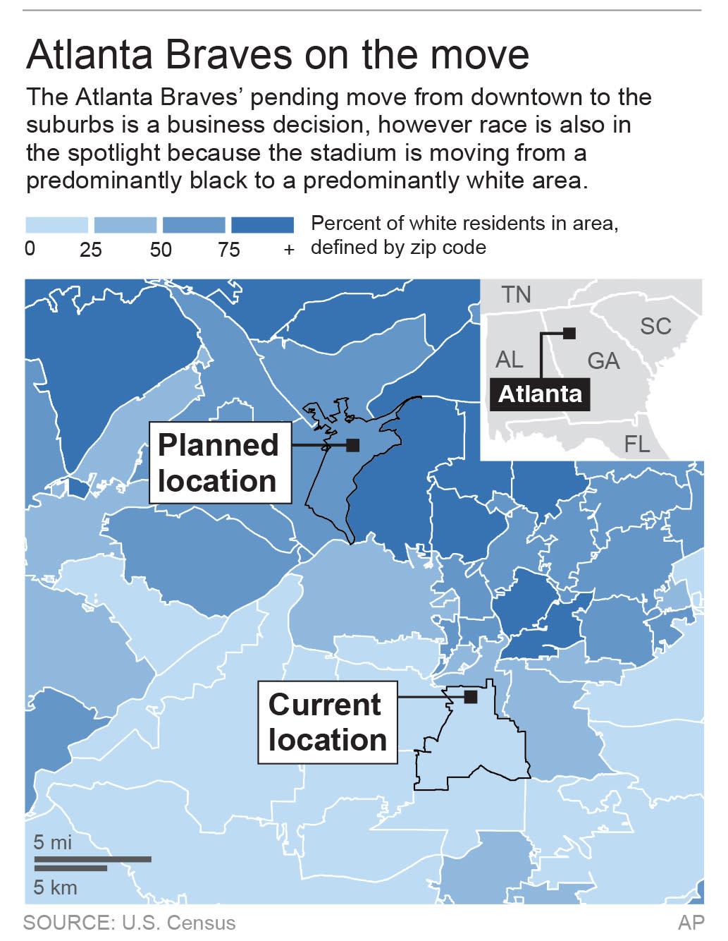 Map locates current and future location of Atlanta Braves' stadium.; 2c x 4 1/2 inches; 96.3 mm x 114 mm;