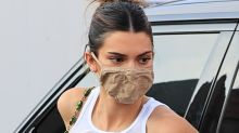 Kendall Jenner Does the Big-Toe Sandal Trend in the Silkiest Mini Dress & Skims Face Mask