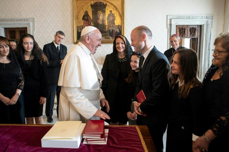 Pope Francis and Maltese Prime Minister Joseph Muscat meet at the Vatican, despite calls from academics for the pontiff to cancel the event