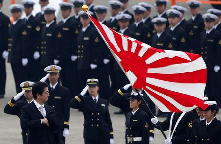 FILE PHOTO : Japan's Prime Minister Shinzo Abe (L) reviews members of Japan Self-Defense Force (JSDF) during the JSDF Air Review, to celebrate 60 years since the service's founding at Hyakuri air base in Omitama, northeast of Tokyo October 26, 2014. REUTERS/Toru Hanai/File Photo