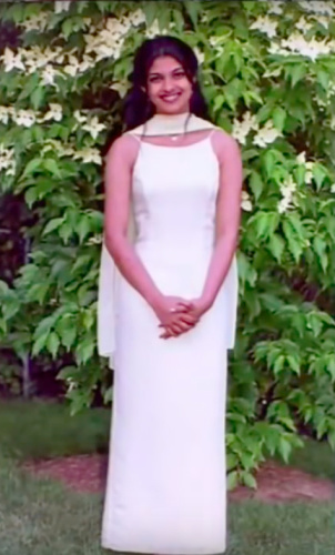 Priyanka Chopra in the prom dress that she bought from Macy's and returned. (Photo: YouTube)