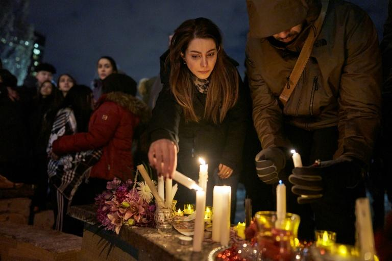 Mourners lit candles in Toronto, Canada in early January 2020 at a vigil honoring the victims of Ukrainian Airlines Flight 752