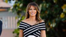Melania Trump deslumbra con un vestido midi de estilo navy