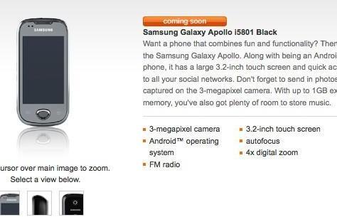 Orange slips out a few Samsung Galaxy Apollo details