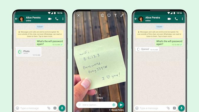 """WhatsApp will allow users to send """"view once"""" photos that disappear after being viewed."""