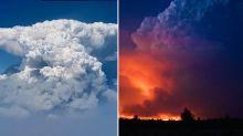 Disturbing 'fire clouds' emerge as huge blaze destroys 70 homes