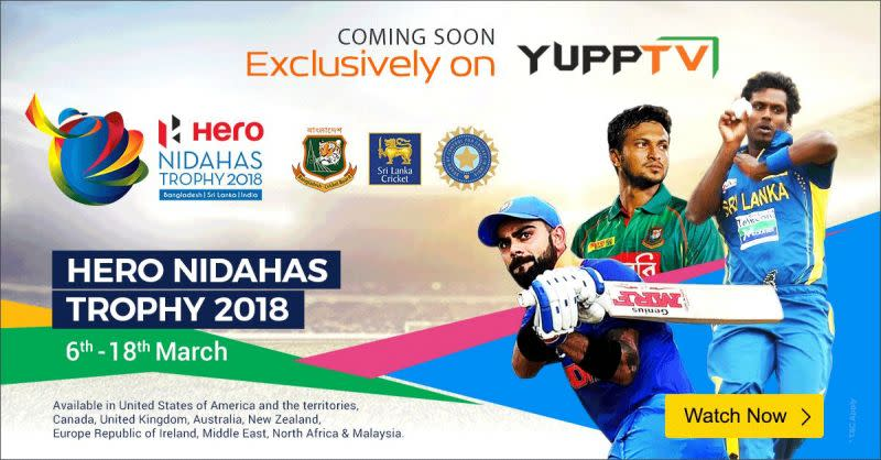 ETeams participating – India, Bangladesh, and Sri Lanka – T20 cricket series will be exclusively live streamed on YuppTVnter caption