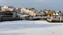 Part of the River Thames freezes over as UK's sub-zero weather continues