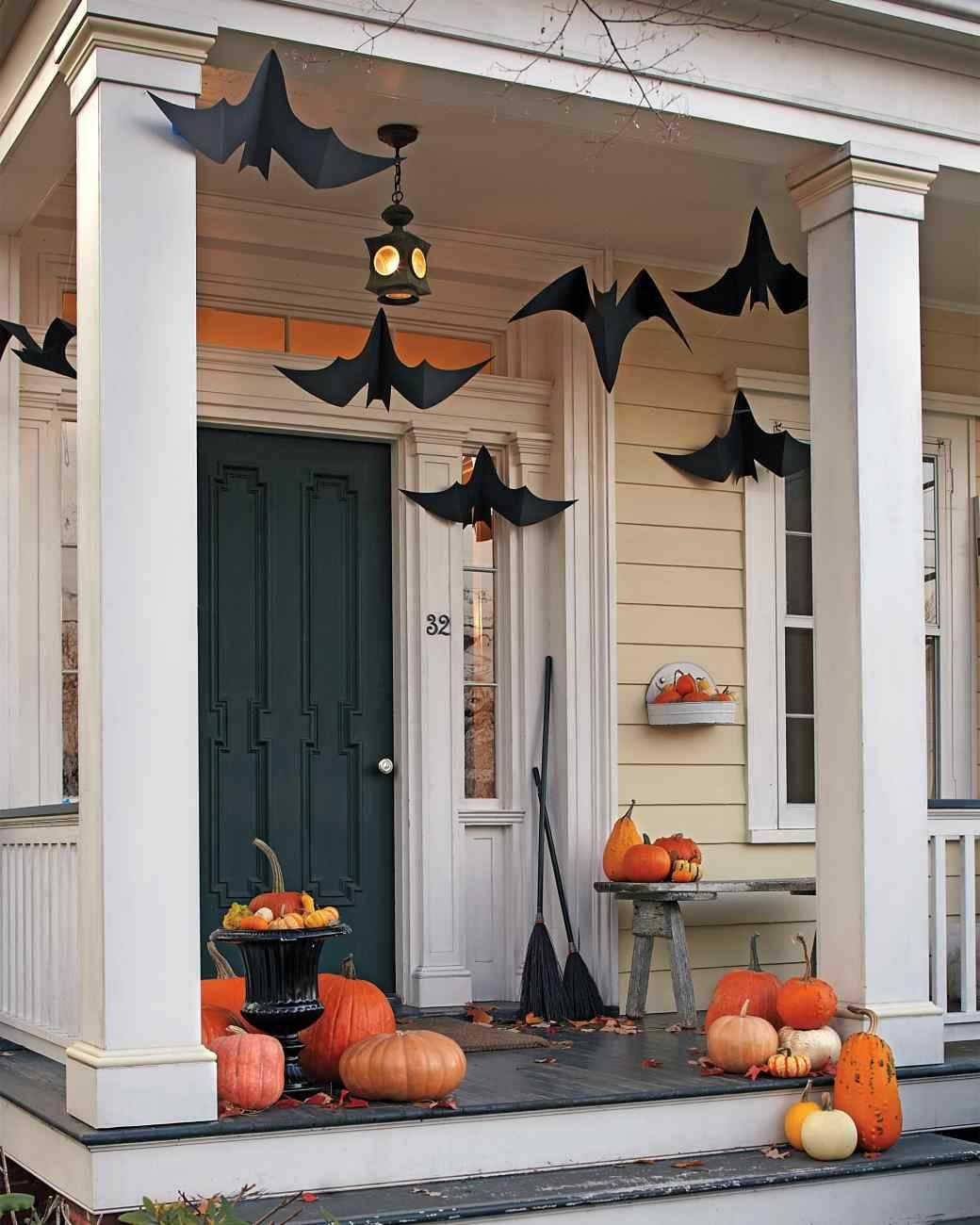 "<p>Using <a href=""http://www.marthastewart.com/852559/hanging-bats"" rel=""nofollow noopener"" target=""_blank"" data-ylk=""slk:this template"" class=""link rapid-noclick-resp"">this template</a> from Martha Stewart, making these hanging bats is a cinch! Trust us, this will be much easier than wrangling the real thing. <i>(Photo: Martha Stewart)</i></p>"