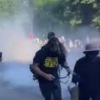 Demonstrators Chant 'Don't Shoot' Before Being Hit With Tear Gas Near White House