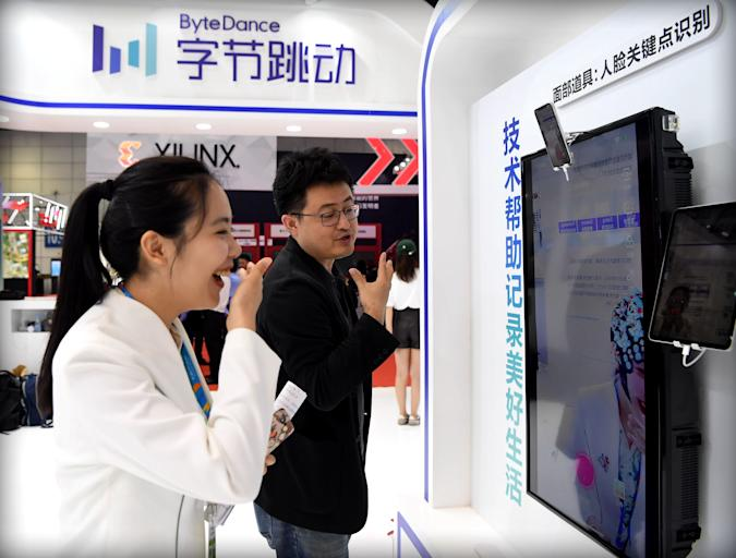 FUZHOU, CHINA - MAY 05: People visit the ByteDance stand during the 2nd Digital China Summit & Exhibition at Fuzhou Strait International Conference & Exhibition Center on May 5, 2019 in Fuzhou, Fujian Province of China. The 2nd Digital China Summit with the theme of 'IT application: new growth drivers for new developments and achievements' will be held on May 6-8 in Fuzhou. (Photo by Visual China Group via Getty Images/Visual China Group via Getty Images)