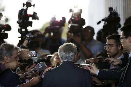 Brazil's Vice President Michel Temer speaks during a news conference in Brasilia, Brazil April 11, 2016. REUTERS/Ueslei Marcelino