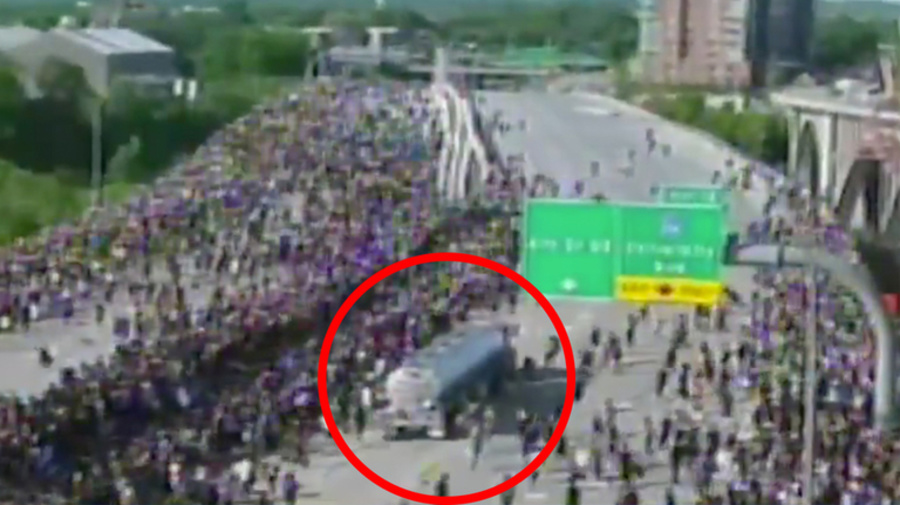 'VERY DISTURBING': Huge truck speeds into thousands of protesters