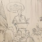 Since cameras were banned, CNN sent its Supreme Court sketch artist to Sean Spicer's press briefing