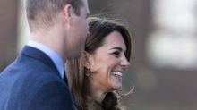 Kate Middleton giggles after she trips in high heels