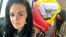 Woman gets stuck in a children's toy car and has to be cut free with a bread knife