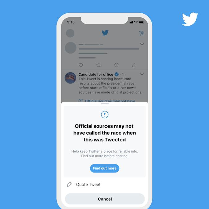 Twitter previewed how it will label tweets that declare victory before results are final.
