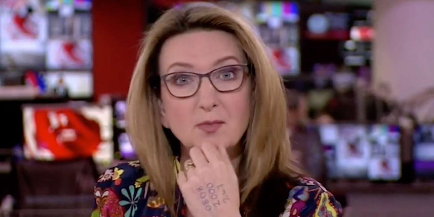 Victoria Derbyshire Presented Bbc News With Helpline Number On Her Hand