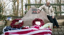 US bomber flypast pensioner greeted by wellwishers on return to memorial