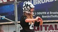 WOWtv - Cara Delevingne Straps on Football Gear For DKNY