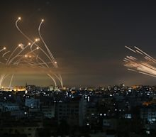 Dramatic photo shows Israel unleashing its Iron Dome interceptors against rockets from Gaza