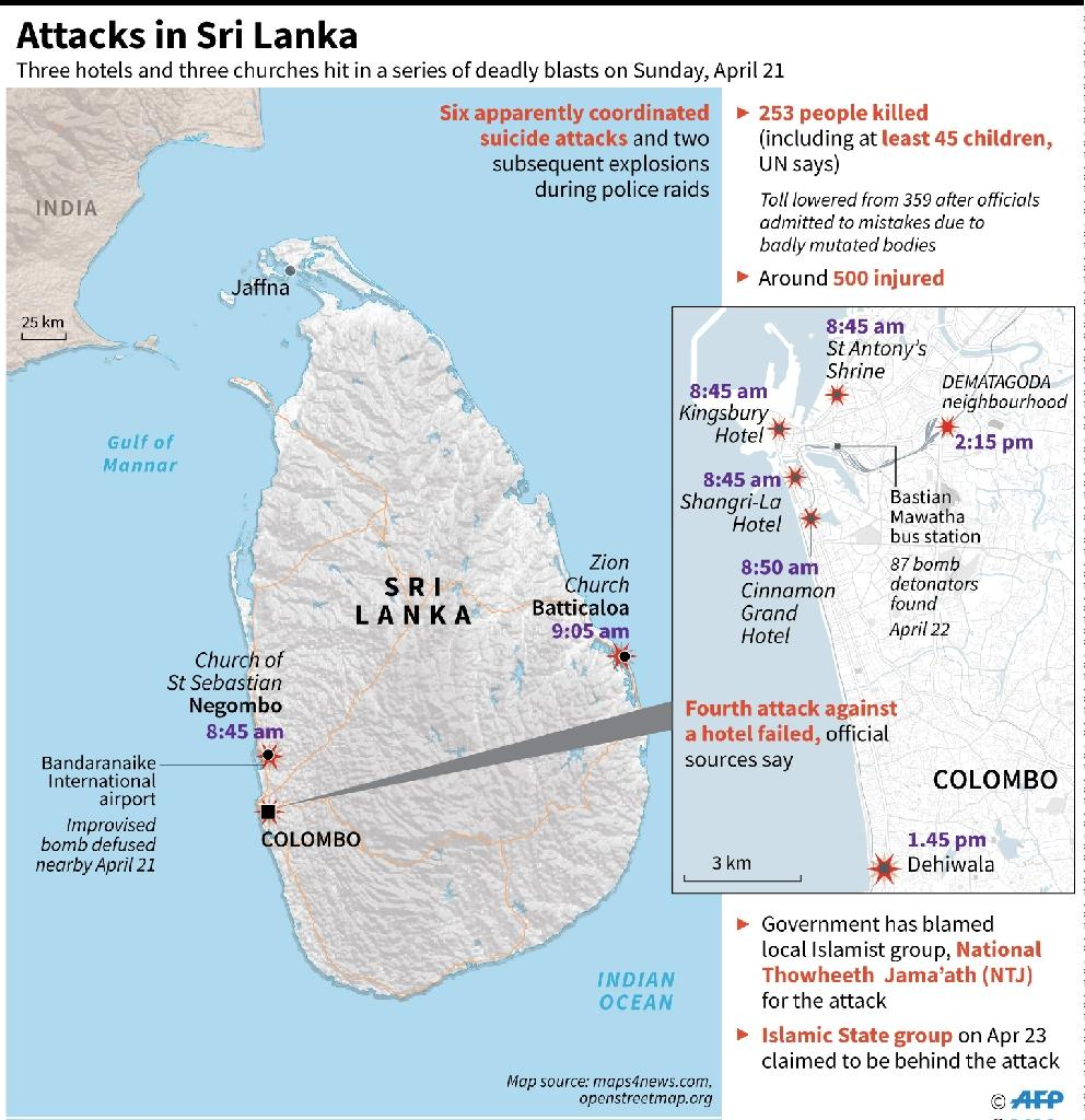 Updated graphic on the April 21 Sri Lanka attacks, which left 253 people dead. (AFP Photo/Simon MALFATTO)