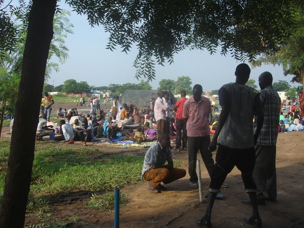 Some of the at least 3000 displaced women, men and children taking shelter at the UN compound in Tomping area in Juba on July 11, 2016