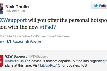Verizon will support Mobile Hotspot on the new iPad, AT&T still working on it