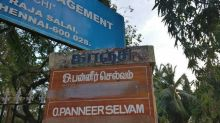 Panneerselvam's nameplate outside his residence in Chennai covered with masking tape