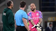 10-man Manchester City hold on to draw with Atalanta with defender Kyle Walker in goal