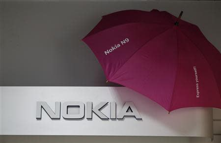 Picture shows a Nokia logo at a shop in Warsaw