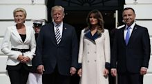 Melania Trump wore £3,550 Gucci coat to greet Poland's first couple — despite the 80-degree heat