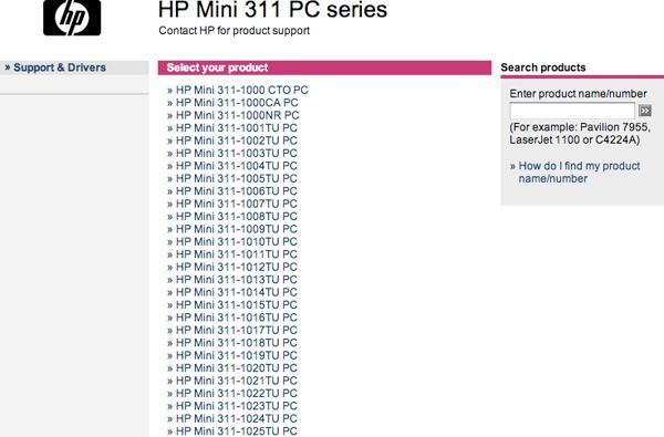 HP Mini 311 listings appear on support site