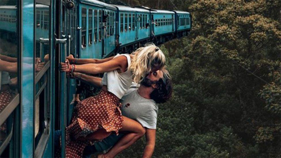Instagram couple hit back after 'idiotic' kissing photo slammed online