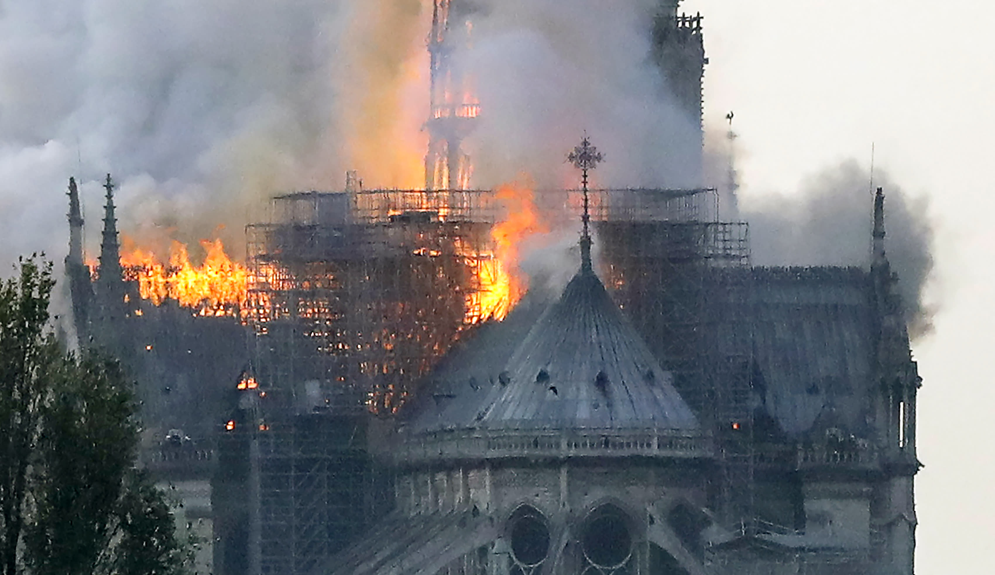 <p>Flames rise during a fire at the landmark Notre Dame Cathedral in central Paris on April 15, 2019 afternoon, potentially involving renovation works being carried out at the site, the fire service said. (Photo credit by FRANCOIS GUILLOT/AFP/Getty Images) </p>