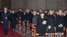 Felipe VI y Letizia ignoran a las infantas en la misa funeral de Pilar de Borbón