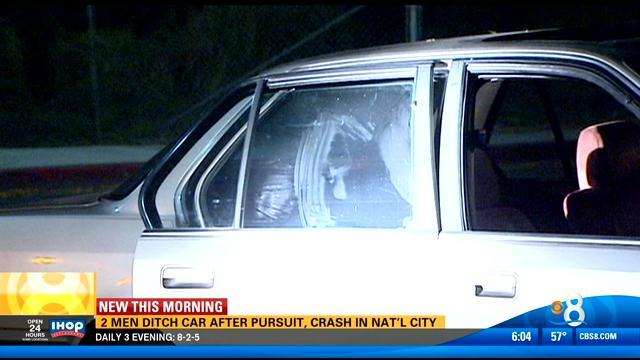 Two men ditch car after pursuit, crash in National City