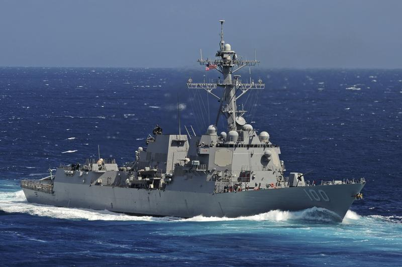 The Arleigh Burke-class guided-missile destroyer USS Kidd is seen underway in the Pacific Ocean