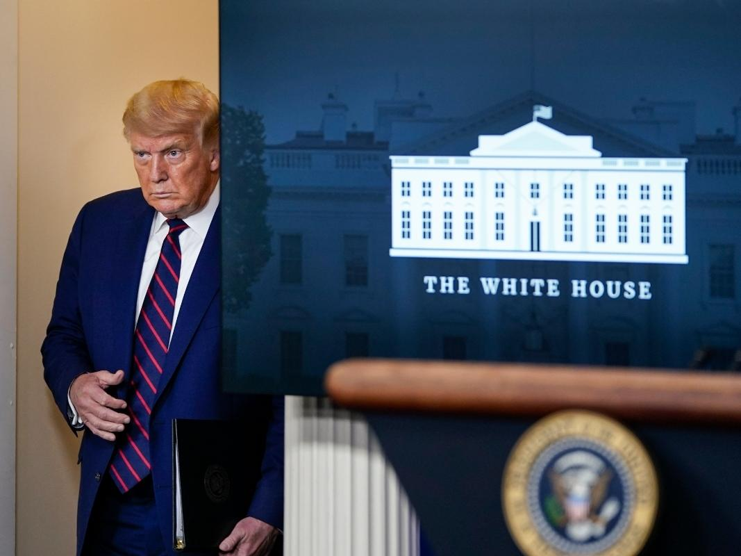 U.S. President Donald Trump arrives for a news conference the White House on Sept. 4 in Washington, DC.