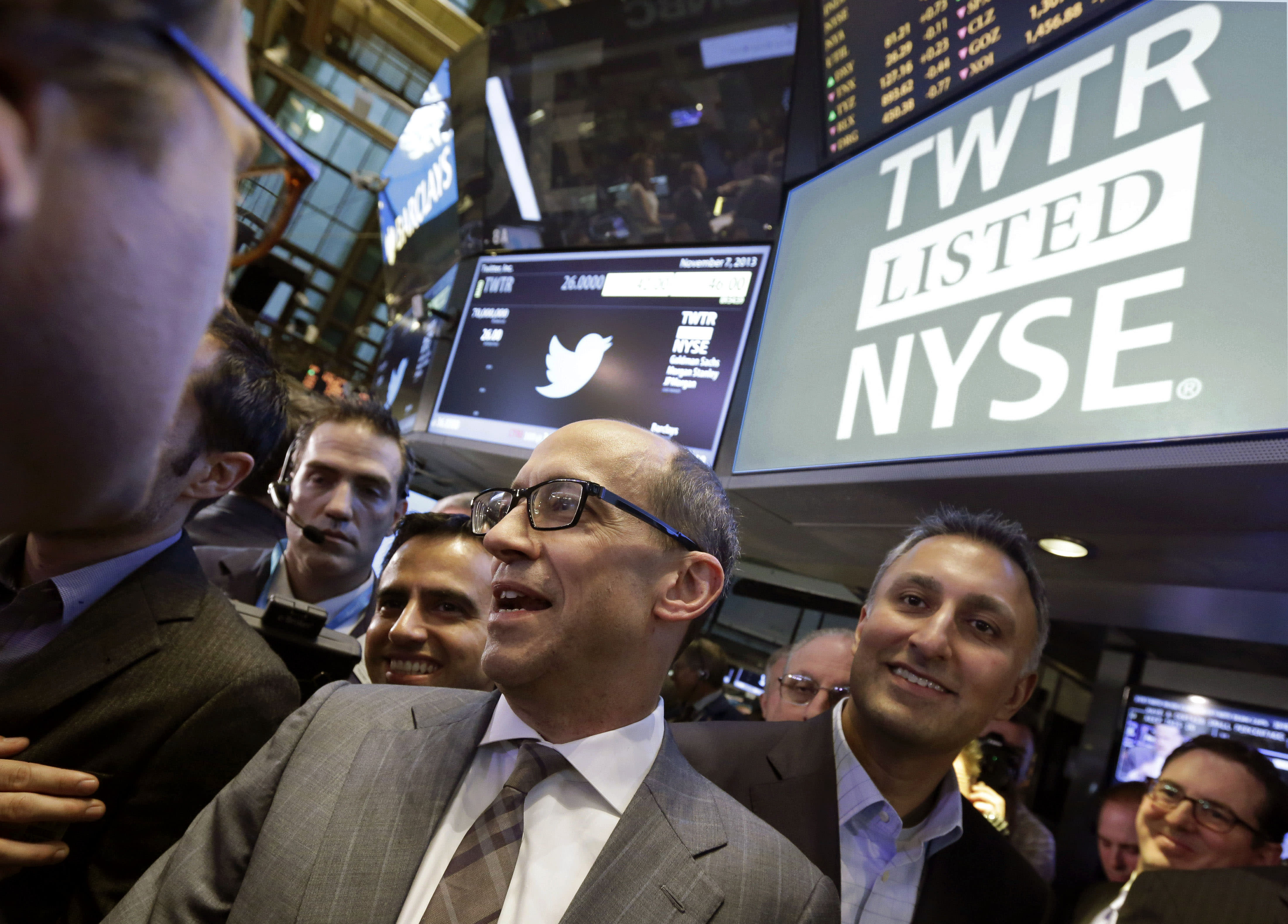 Twitter CEO Dick Costolo, center, and Mike Gupta, chief financial officer of Twitter, wait for shares to begin trading during the IPO, on the floor of the New York Stock Exchange, Thursday, Nov. 7, 2013. If Twitter's bankers and executives were hoping for a surge on the day of the stock's public debut, they got it. The stock opened at $45.10 a share on its first day of trading, 73 percent above its initial offering price. (AP Photo/Richard Drew)