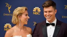 Scarlett Johansson upstages partner - and Emmys presenter Colin Jost - in Balmain gown