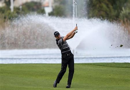 Stenson of Sweden plays a shot on the fifth hole during the first round of the inaugural Turkish Airlines Open in Antalya