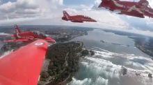 Britain's Red Arrows take stunning flight over Niagara Falls