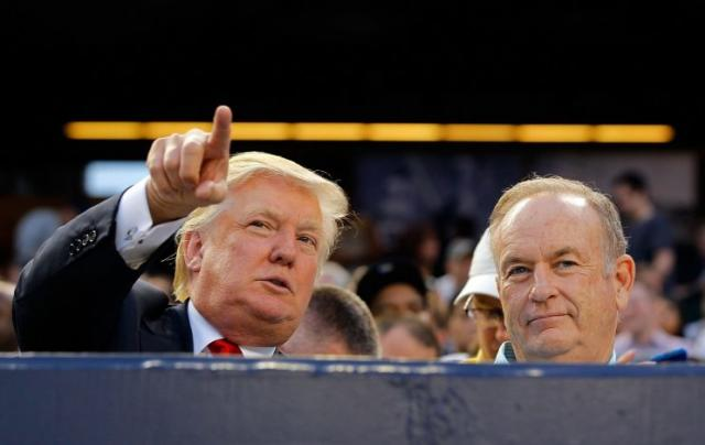 Trump and O'Reilly attend a Yankees game in the Bronx in 2012. (Jim McIsaac/Getty Images)