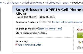 Sony Ericsson's XPERIA X1a available for pre-order at Best Buy