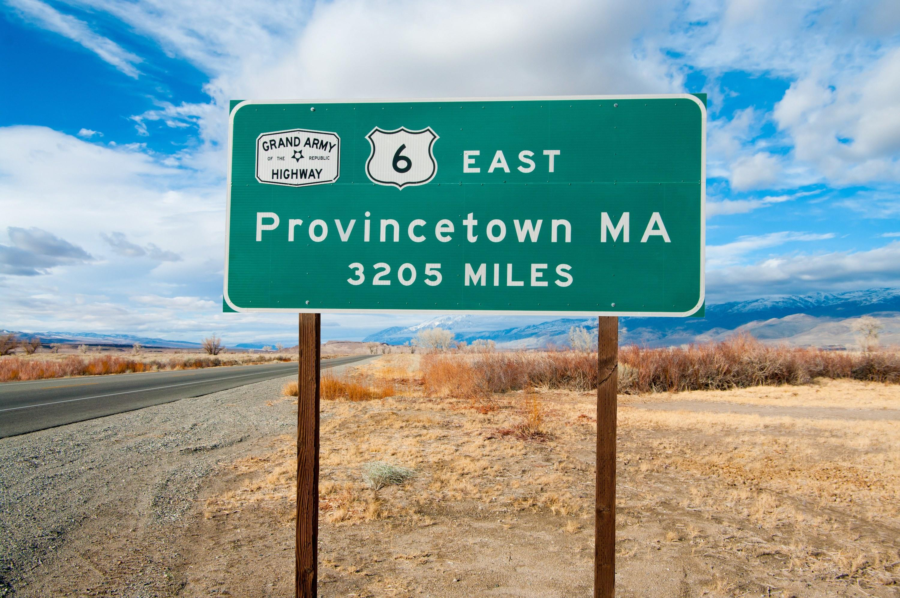 Almost running the entirety of the country, U.S. Route 6 begins in Provincetown, Massachusetts, and ends in Bishop, California (near the Nevada border). In total the highway stretches 3,199 miles, at one point going through the Loveland Pass, where it crosses the Continental Divide.