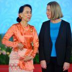 EU's top diplomat 'encouraged' by Rohingya talks with Suu Kyi